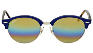 Ray-Ban Clubround Gold Rainbow Flash Sunglasses - Ships Same/Next Day!
