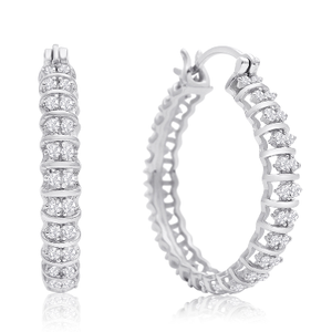 1/2 Carat Diamond Hoop Earrings, 1 Inch - Ships Same/Next Day!