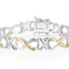 1/10 Carat Diamond XO Infinity Bracelet - Choice of  Platinum or Yellow Gold Overlay - Ships Same/Next Day!