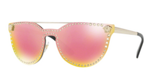 Versace Gold Frame Yellow Rose Mirror Women's Sunglasses ( VE2177 12524Z 45MM) - Ships Same/Next Day!