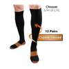 6 or 12 Pairs: Copper Infused Compression Socks - Reduces Pain and Swelling in Calves & Ankles - Ships Same/Next Day!