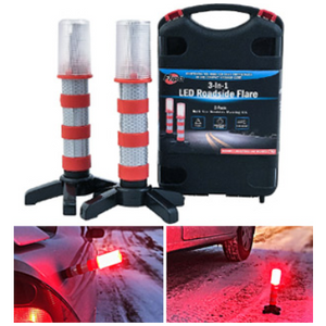 3-in-1 LED Roadside Flares - Ships Same/Next Day!