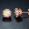 Fire Opal Crown Stud Earrings in 18K Rose Gold Plating - Ships Same/Next Day!