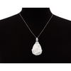 Sterling Silver Quartz Teardrop Necklace With Rose Accents, 18 Inches - Ships Same/Next Day!
