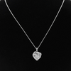Sterling Silver 1/4ct Diamond Heart Necklace, With Round and Baguette Stones, 18 Inches - Ships Same/Next Day!