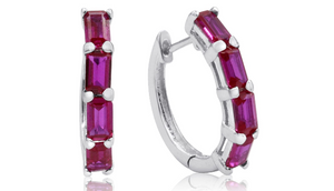 4 1/2ct Emerald Cut Ruby Hoop Earrings In Sterling Silver - Ships Same/Next Day!