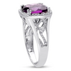 5ct Cushion Cut Halo Style Amethyst Ring Crafted In Solid Sterling Silver - Ships Same/Next Day!