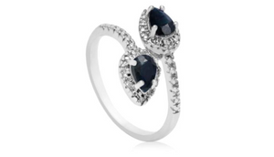 1ct Pear Shaped Sapphire and Diamond Wrap Ring - Ships Same/Next Day!