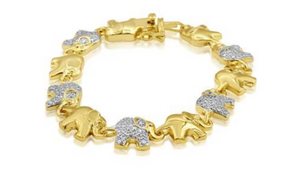Diamond Accent Elephant Bracelet In Yellow Gold Overlay, 7 Inches - Ships Same/Next Day!