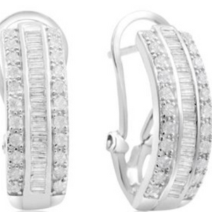 1 Carat Baguette and Round Diamond Hoop Earrings In Sterling Silver - Ships Same/Next Day!