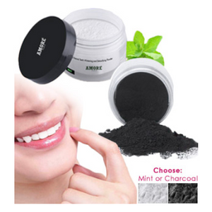 2 Pack: Amore Paris Teeth Whitening Powder (Charcoal or Mint) - Ships Same/Next Day!