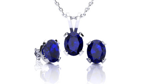 1 3/4 Carat Oval Shape Sapphire Necklace and Earring Set In Sterling Silver - Ships Same/Next Day!