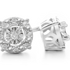 1/10 Carat Halo Diamond Stud Earrings In Sterling Silver - Ships Same/Next Day!