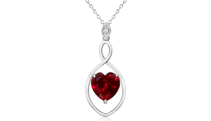 5 Carat Heart Created Ruby Infinity Necklace In Sterling Silver, 18 Inch Chain - Ships Same/Next Day!