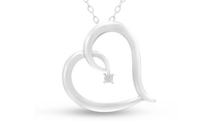 Simple Reclining Diamond Heart Necklace, 18 Inches - Ships Same/Next Day!