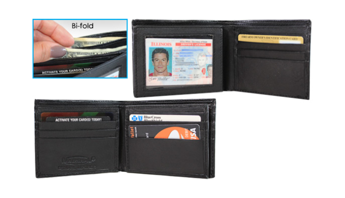 Men's Black Genuine Leather Bifold & Trifold Wallets - Ships Same/Next Day!