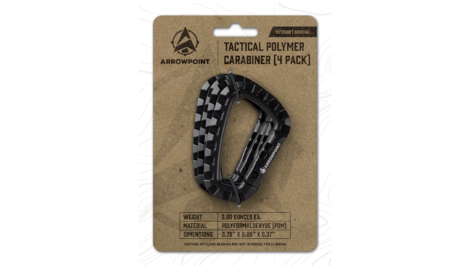 Pack of 4: Arrowpoint Tactical Polymer Carabiners - Ships Same/Next Day!