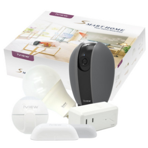Smart Home Guardian Bundle (Smart Camera, WiFi Light Bulb, Plug, Motion & Door Sensor) - Ships Same/Next Day!