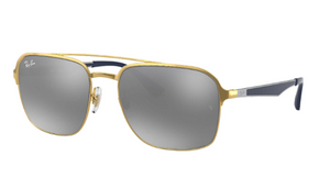 Ray-Ban Grey/Gold Sunglasses (RB3570 001/88 58MM) - Ships Same/Next Day!