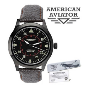 PRICE DROP: American Aviator Vintage-Style Leather Watch Deluxe - Ships Next Day!