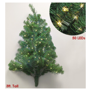 Pre-Lit 3 Foot Cordless Christmas Wall Tree - Ships Next Day!