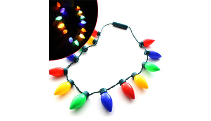 Christmas Light Necklace.Christmas Light Bulb Necklace With Flashing Lights Ships Next Day