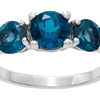 3 Stone London Blue Topaz Rhodium Plated Ring (Size 5) - Ships Next Day!