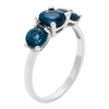 3 Stone London Blue Topaz Rhodium Plated Ring (Size 5)