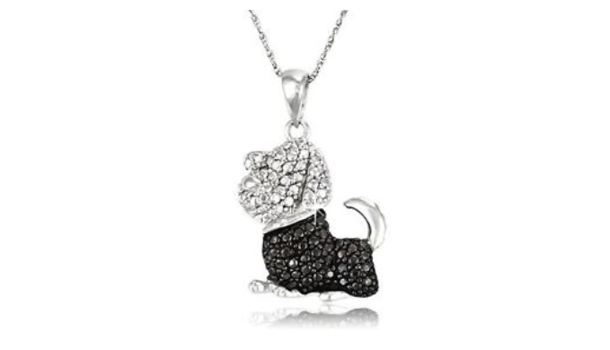 Sterling Silver Black & White Diamond Accent Dog Pendant With Chain - Guaranteed by Mother's Day* + FREE RETURNS!