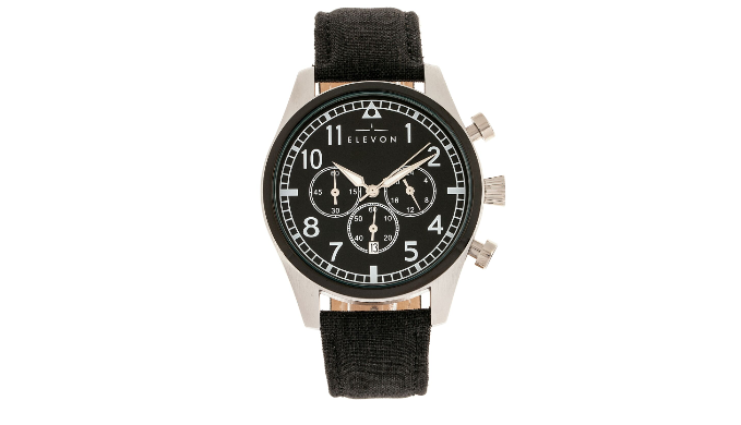 Elevon Curtiss Leather-Band Chronograph Watch w/ Date - Ships Next Day!
