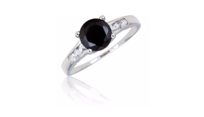 Sterling Silver 1.5 GTW Black Onyx w/ .25 GTW White Topaz Side Stones - Guaranteed by Mother's Day* + FREE RETURNS!