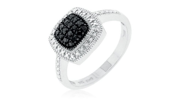 Sterling Silver 0.20 CTW Black and White Diamond Ring - Guaranteed by Mother's Day* + FREE RETURNS!