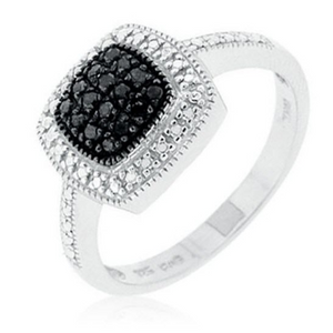 Sterling Silver 0.20 CTW Black and White Diamond Ring - Ships Next Day!