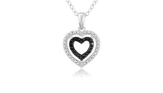 Sterling Silver Black Diamond Accent Double Heart Pendant w/18 Chain - Ships Next Day!