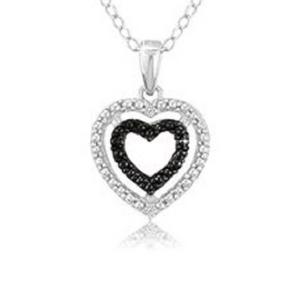 Sterling Silver Black Diamond Accent Double Heart Pendant w/18 Chain