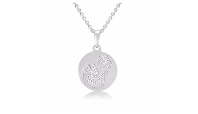 Sterling Silver Diamond Accent Double Hand Round Pendant with 18″ Chain - Ships Next Day!