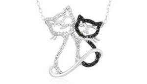 "Sterling Silver Black Diamond Accent Double Cat Pendant with 18"" Chain - Guaranteed by Mother's Day* + FREE RETURNS!"