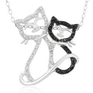 "Sterling Silver Black Diamond Accent Double Cat Pendant with 18"" Chain - Ships Next Day!"