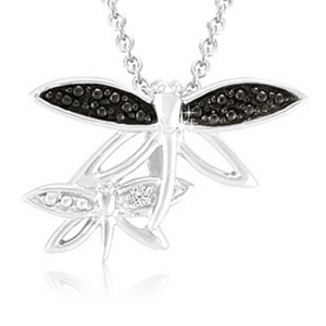 Sterling Silver Black Diamond Accent Double Fire Fly Pendant with 18″ Chain - Ships Next Day!