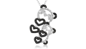 Sterling Silver Black Diamond Accent Double Panda Pendant with 18″ Chain - Guaranteed by Mother's Day* + FREE RETURNS!