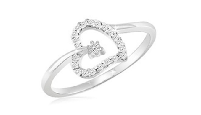 Sterling Silver White Diamond Accent Heart Ring – Size 8/9 - Ships Next Day!