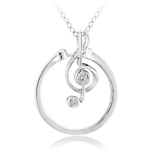Interchangeable Musical Note Ring or Pendant w/ Crystal Accents and 18″ Chain Size 7 - Ships Next Day!
