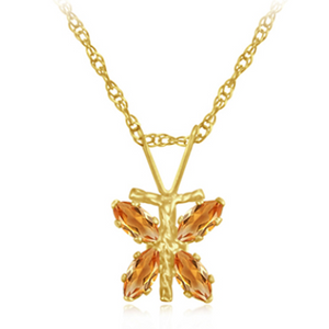 10KY Citrine Dragonfly Pendant with Chain - Ships Next Day!