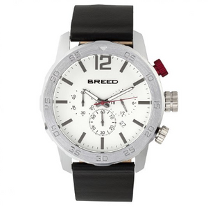 Breed Manuel Chronograph Leather-Band Watch w/Date - Silver - Ships Next Business Day!