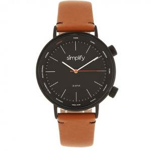 Simplify The 3300 Leather-Band Watch - Orange/Black - Ships Next Business Day!