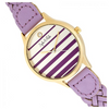 Sophie & Freda Tucson Leather-Band Watch w/Swarovski Crystals - Gold/Lavender - Ships Next Business Day!