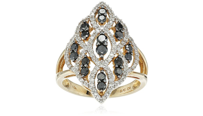 Classy cocktail ring featuring black and white diamonds in 10KT yellow gold -Ships Next Day!