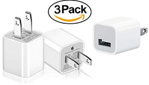 3 Pack: Genuine Original Apple 5W Wall Charger Cubes for All iPhones, iPods and iPads - Ships Next Day!