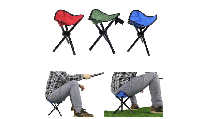 4 Pack: Folding Tripod Stool Chairs w/ Carry Strap - Perfect for all Outdoor Activities - Ships Next Day!