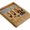Bamboo Cheese Board & Cutlery Set w/ Slide Out Drawer & 4 Stainless Knife - Ships Next Day!